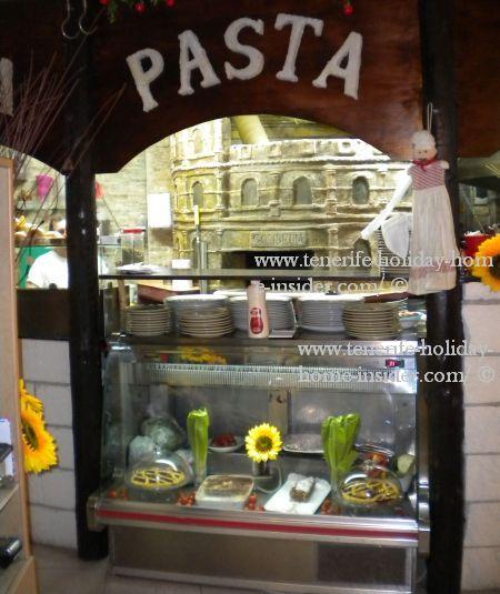 Dessert counter in Italian bar restaurant of Toscal Longuera
