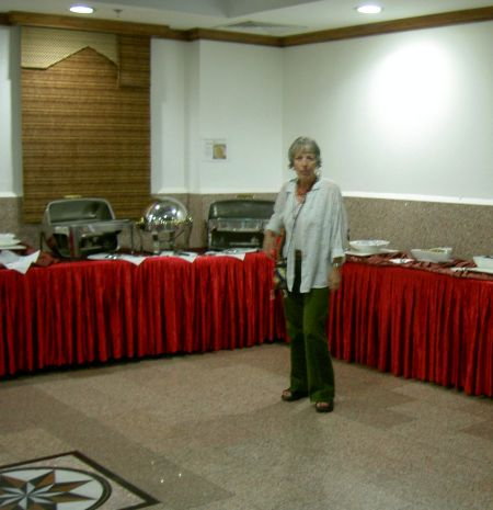 Dhoa Indian restaurant stop over by myself near our airport hotel in Quatar in 2010