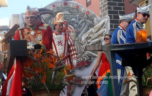 Duesseldorfer (Düsseldorfer) Karneval in Puerto de la Cruz Prinzenpaar on a float  during the grand parade in 2017.