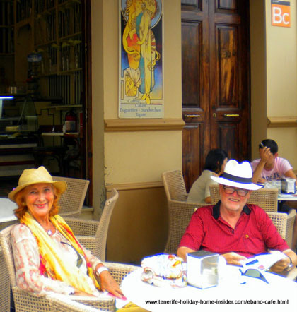 Ebano cafe with typical customers who match the Art Nouveau