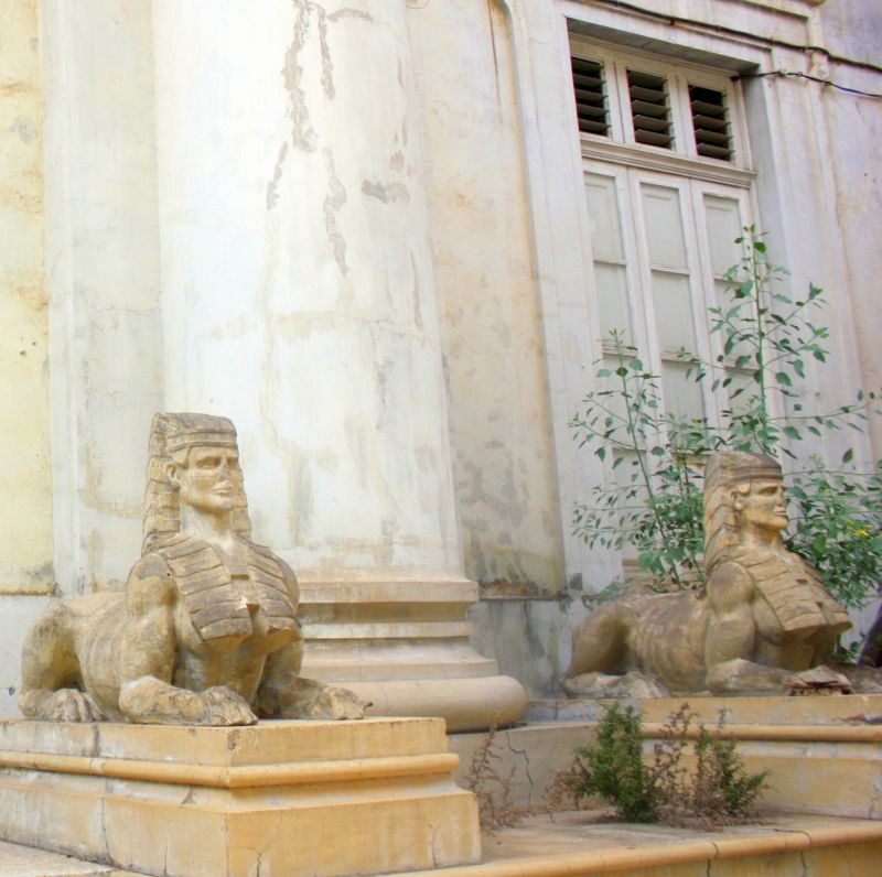 Two Egyptian Sphinxes of a total of four to the left and right in front of the Masonic Temple portal.
