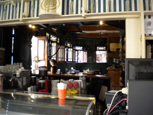 El Ebano Cafe bar room view from its shop in Puerto de la Cruz.