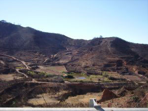 Burned land by El Tanque Town Tenerife
