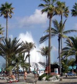 Entertainment Tenerife by a lido fountain