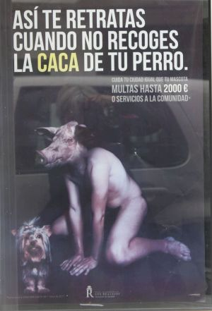 Environmental care poster by Los Realejos featuring a a man with pig's head.