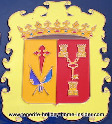 Escudo of unification of two historical parts within the province where the conqueror of Tenerife settled first.
