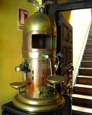Espresso machine vintage from Santa Cruz de Tenerife capital of a downtown restaurant.