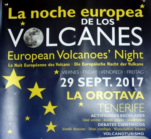 European volcanoes night a scientific and educational event in La Orotava advertised  by a poster.