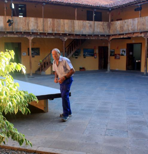 Ex-Convent San Sebastian interior patio with podium.