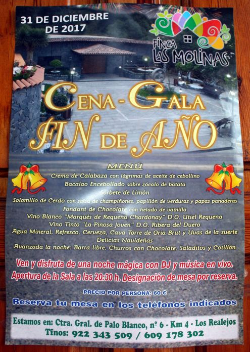 Finca Las Molinas New Year Gala dance and dinner 2018 to be booked at its Facebook