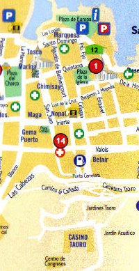 Map of Puerto de la Cruz from Plaza del Charco to Taoro Park.