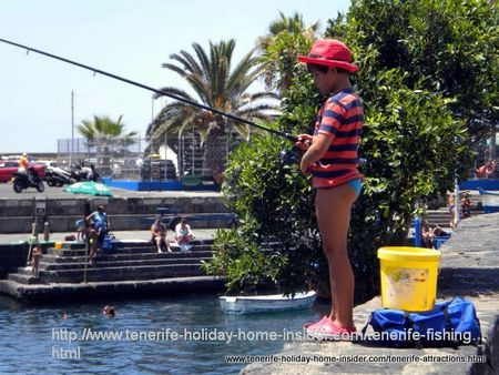 Very young fisher boy fishes at Muelle Puerto de la Cruz.