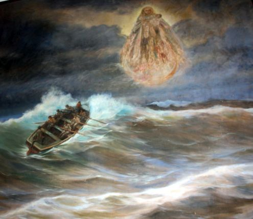 Fishermen and Madonna painting with boat fighting dangerous waves