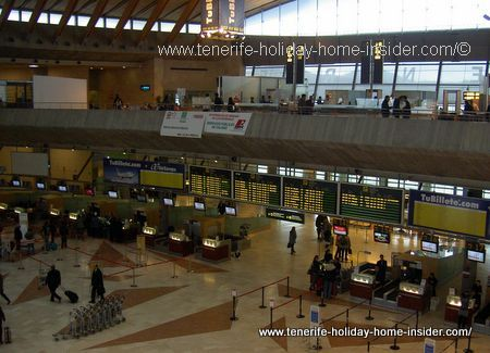 Flights to Tenerife, many of which are scheduled on airport billboards.