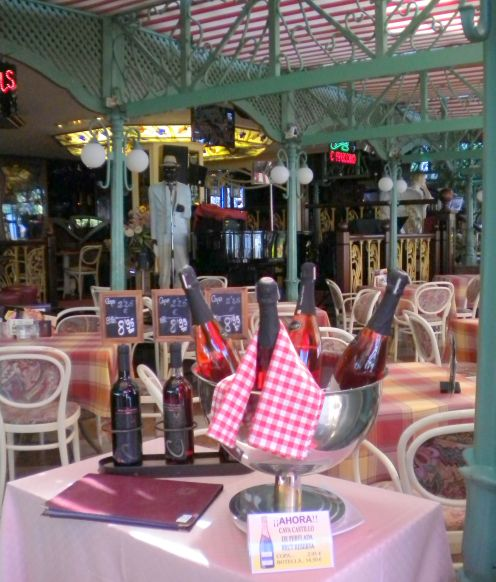 French cafe with architectural metal structure interior in Tenerife North.