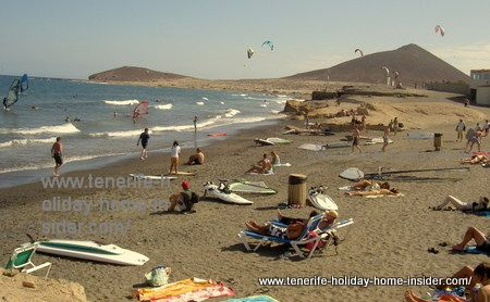 El Medano Tenerife golden beaches with surf kites and African light at Granadilla de Abona shores of yellow Pumice rocks