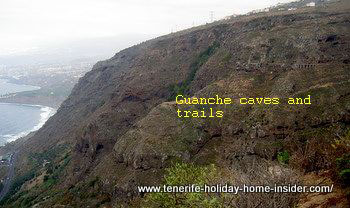 Guanche caves seen from Look-out La Coruna Los Realejos Tenerife Spain