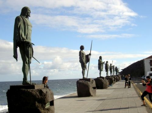 Guanche Kings by nine statues at the beach front of Plaza de la Basilica Candelaria.