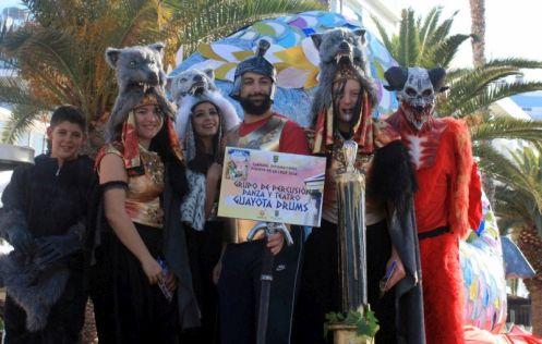 Guayota drums band of Puerto de la Cruz posing at the Sardine of Carnival 2018