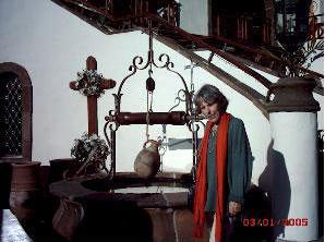 Outside Hacienda San Pedro of  Meson Monasterio with artistic details.
