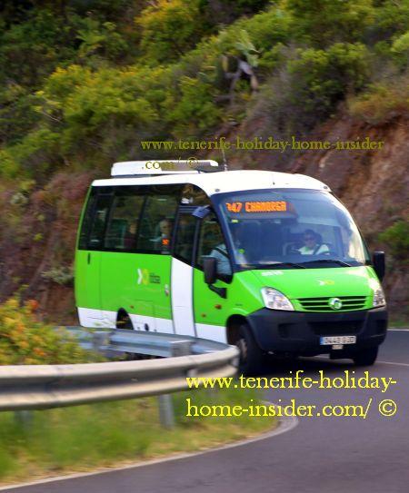 Half size Titsa bus of route 947 Chamorga -Anaga