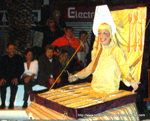 Hawker masquerade at gay carnival Puerto Cruz Tenerife