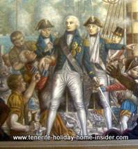 The defeated British admiral injured in Santa Cruz by oil on canvas painting.