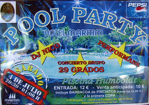 Hotel poster invitation to public pool party Tenerife