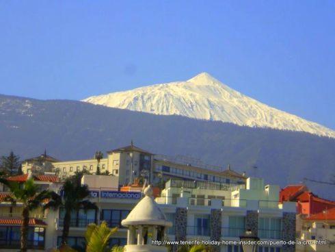 Hotel Taoro view from Puerto de la Cruz with white Teide above