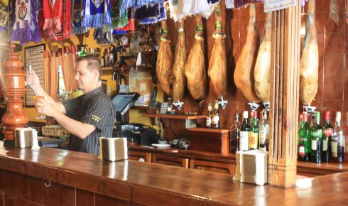 Hung Cerrano ham behind the Taberna Ramon bar as permanent feature.