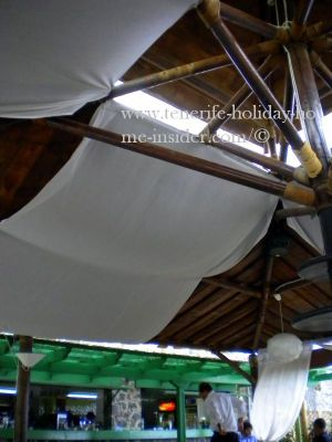 Interesting roof structure of beach restaurant in Tenerife.