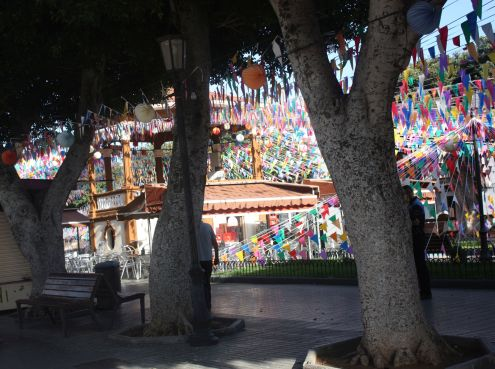 International festival Borales with its flags on the main town square Plaza de la Luz.