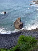 Isolated rock by Beach Playa de los roques of Los Realejos.