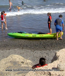 Kayak in the sand by beach Playa Grande Tenerife El Medano