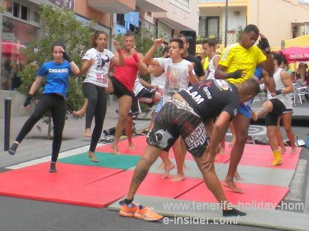 Kratos Gym with a workout show at the Longuera Realejos business and sports Fiesta of 2015.
