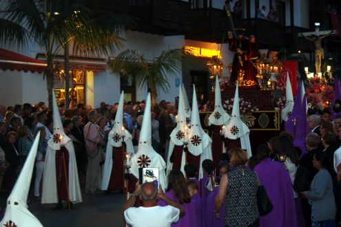 Ku Klux Klan look alikes in Puerto de la Cruz of Tenerife.