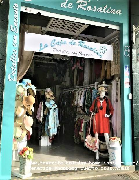 La Caja de Rosalina for women clothes of good quality at the Puerto de la Cruz harbor. Dream dresses and accessories designed in Paris, Rome, Madrid, you name it but, at affordable prices.