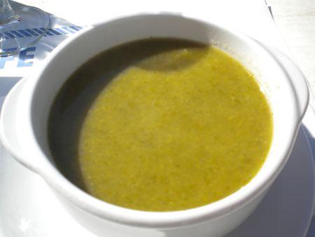 Leek cream soup a starter of a Christmass Lunch menu.