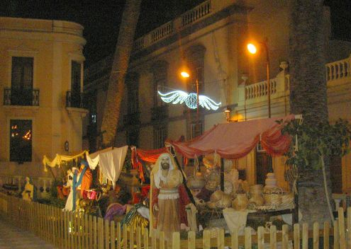Life size nativity figurines in La Orotava by its Town Hall.