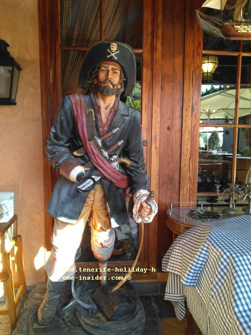 A lifesize pirate figure with stick leg at Hacienda San Pedro of Mesón Monasterio