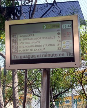 Computerized, electronic Titsa bus arrival board at a bus stop in La Paz of Puerto de la Cruz