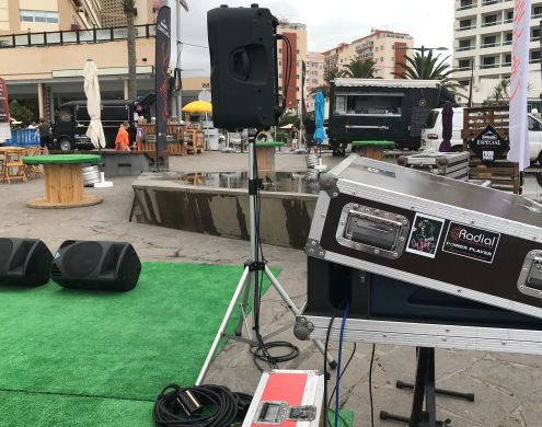 Music equipment with amplifiers at Martianez Puerto de la Cruz in August 2018