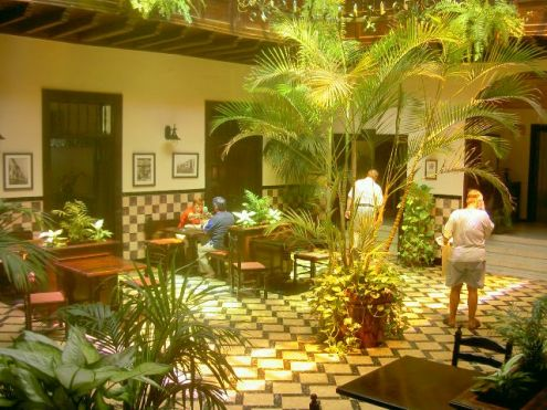 Lobby with antique floor tiles at hotel in  Calle Quintana, 11 of Puerto de la Cruz.
