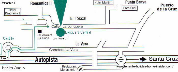 Longuera central map for driving from freeway