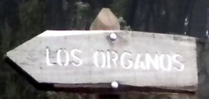 Signpost reading Los Organos.