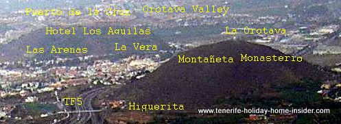 Los Realejos mounts Monte Arenas and Monte Montañeta with the settlements Las Arenas and La Vera