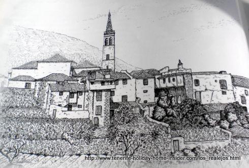 Los Realejos Tenerife historical town drawing