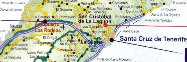 Airport Los Rodeos surroundings by la Laguna and Santa Cruz