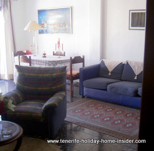 Lounge-dining room Tenerife apartment rental Longuera main Road