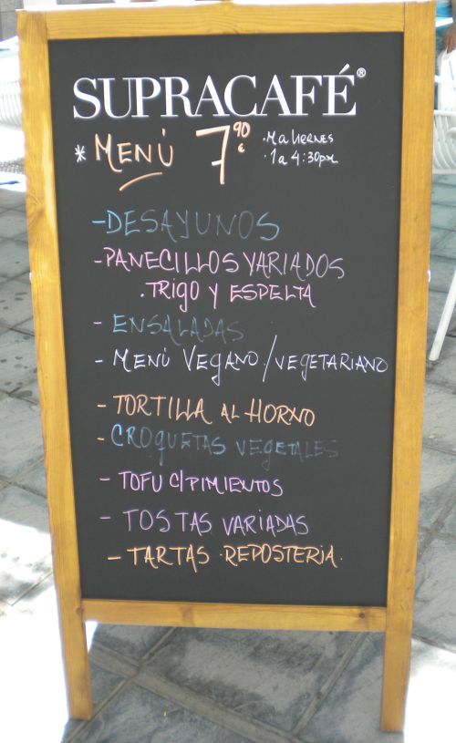 Low cost Vegan Menu display.